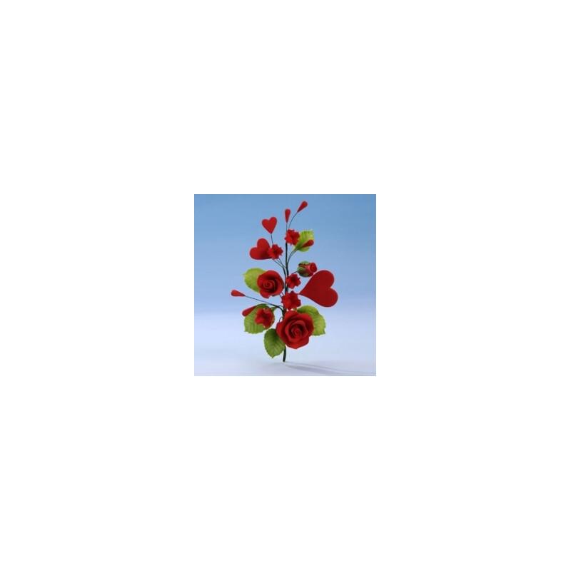Bouquet de roses et coeurs rouges