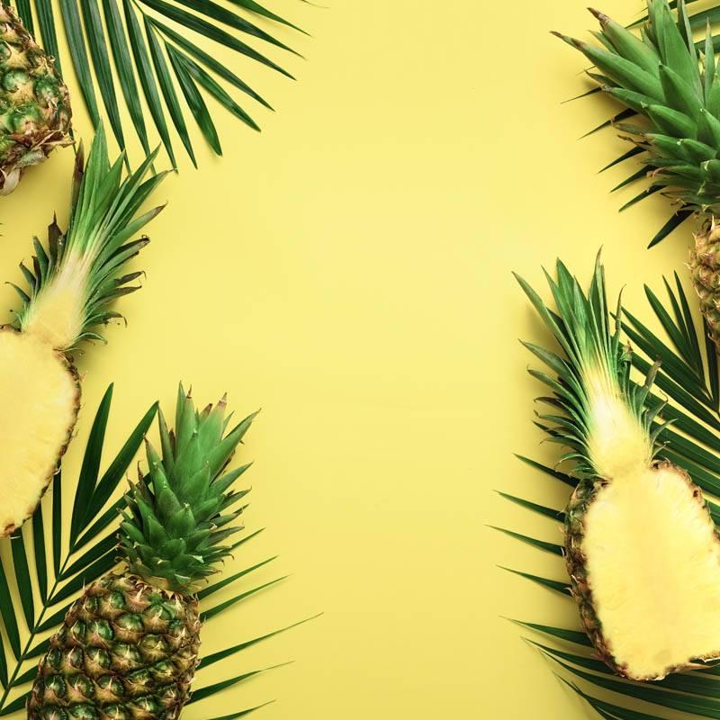 Ananas fond jaune