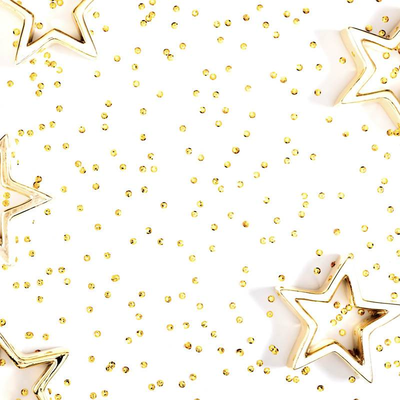 Paillettes et étoiles dorés fond blanc